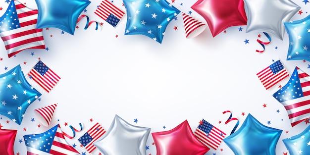 7月4日のパーティーの背景。アメリカの星の形をした風船でのアメリカ独立記念日のお祝い。7月4日