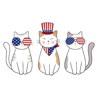 7月4日愛国猫独立記念日ベクトルイラスト