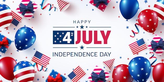 7月4日のポスターテンプレート。アメリカの風船の旗とアメリカ独立記念日のお祝い