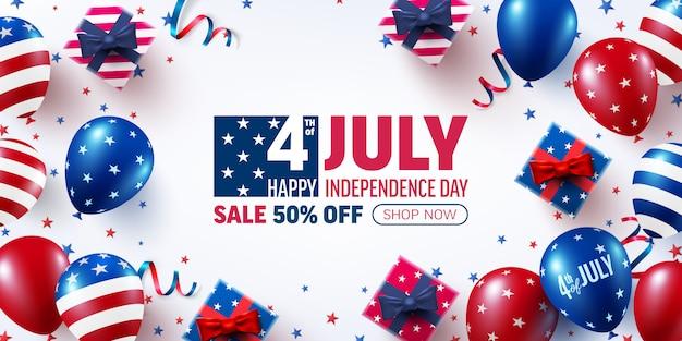 7月4日販売バナーテンプレート。アメリカの風船の旗とアメリカ独立記念日のお祝い。アメリカ7月4日のプロモーション広告バナーテンプレート Premiumベクター