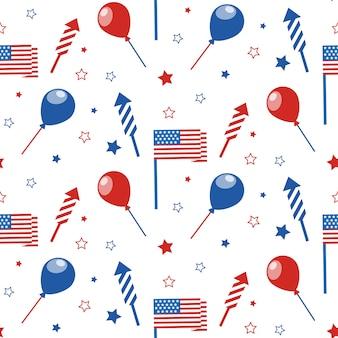 7月4日のシームレスなパターンとお祝いの属性。