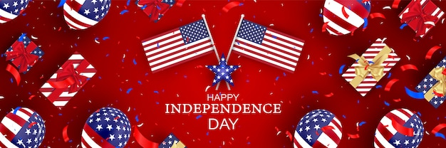 7月4日。アメリカの風船の旗とアメリカ独立記念日のお祝い。