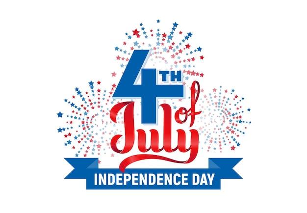 4 июля. день независимости сша надписи на белом фоне