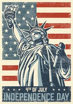 4 июля винтажный плакат