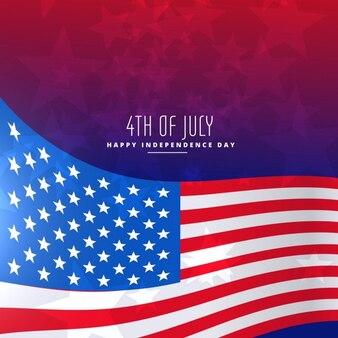 4 июля фоне волнистой флаг