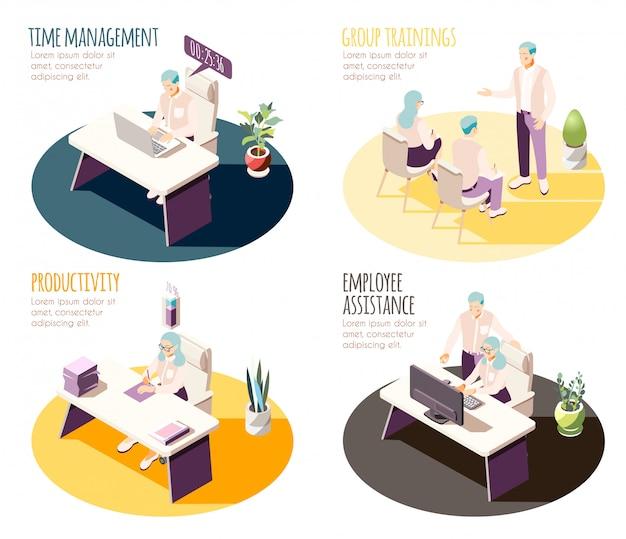 効果的な管理等尺性4x1の構成のセットで、編集可能なテキストと人間のキャラクターを含む職場のスポット
