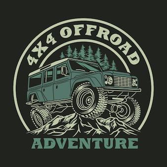 4x4 off road adventure vehicle logo Premium Vector
