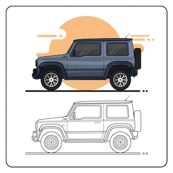 4x4 offroad car side view easy editable