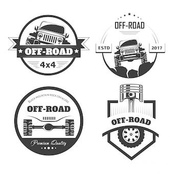 Шаблоны логотипов или значки внедорожных 4x4 для экстремальных автомобильных клубов