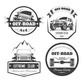 Шаблоны логотипов внедорожных 4x4 экстрим-клубов. векторные символы