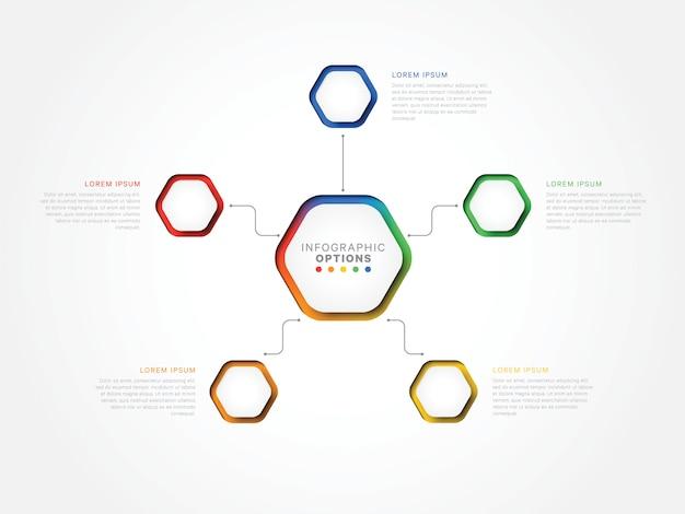 六角形の要素を持つ5つのステップ3 dインフォグラフィックテンプレート。オプション付きのビジネスプロセステンプレート