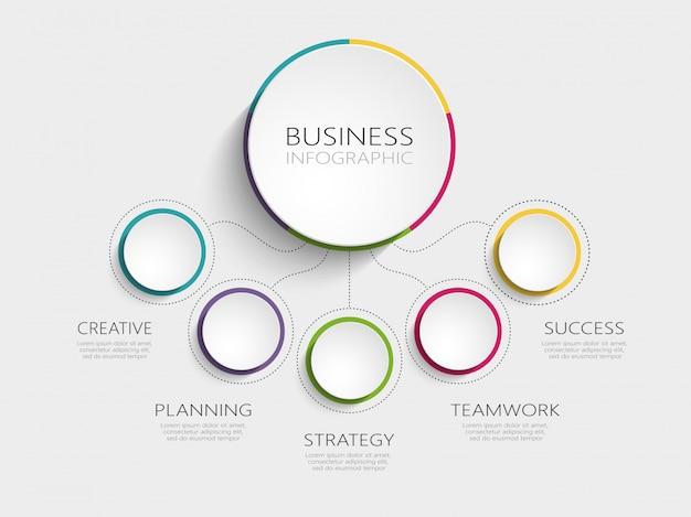 成功のための5つのステップを持つモダンな抽象的な3 dインフォグラフィックテンプレート