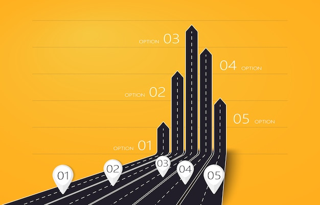 5つのオプションを持つビジネスと旅のインフォグラフィックのモダンな3d矢印道路マップ