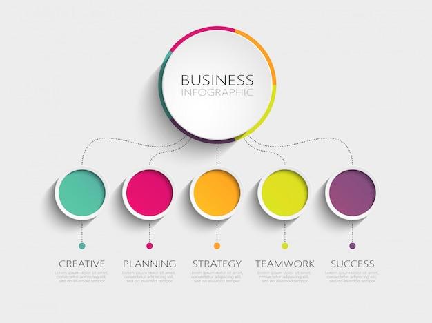 成功のための5つのステップを持つモダンな3dインフォグラフィックテンプレート