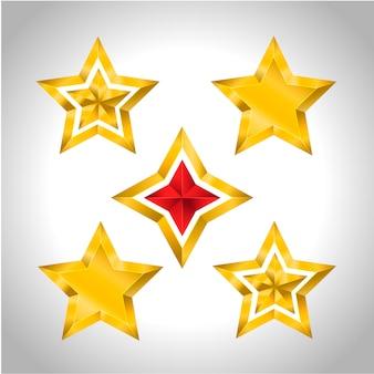 5つの金の星クリスマス新年の休日3d