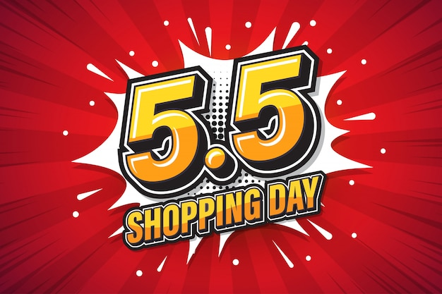 5.5 shopping day font expression pop art comic speech bubble.