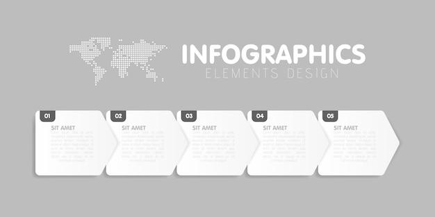 ビジネスインフォグラフィックテンプレート。 5つの矢印ステップ、5つの数値オプションのあるタイムライン。ベクター