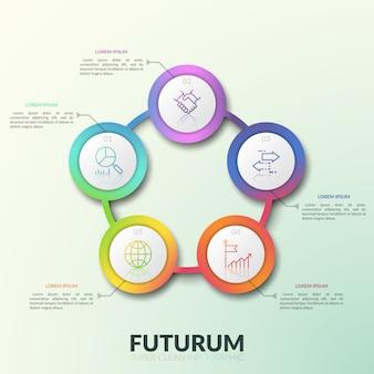 数字、細い線アイコン、テキストボックスを備えた5つの接続された円形要素。 5つのオプションのあるラウンドチャート。モダンなインフォグラフィックデザインレイアウト。