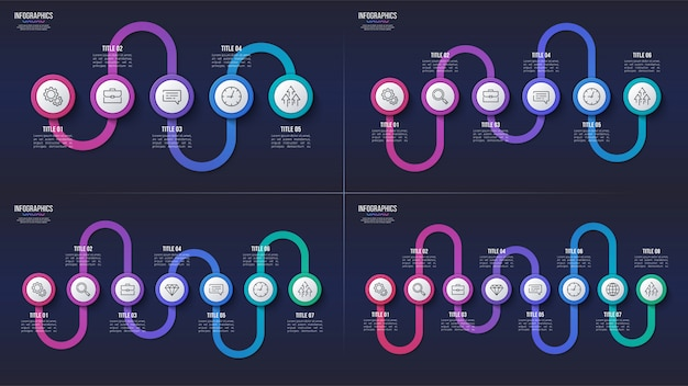5 6 7 8 steps infographic designs, timeline charts, prese