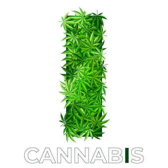 5 of 6. letter i.  annabis or marijuana leaf logo design template. hemp for emblem, logo, advertisement of medical services or packaging. flat style icon. isolated