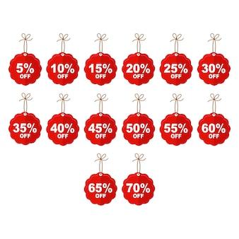 セール割引かわいい価格のタグアイコンは5から70オフに設定