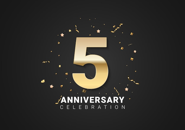 5 anniversary background with golden numbers, confetti, stars on bright black holiday background. vector illustration