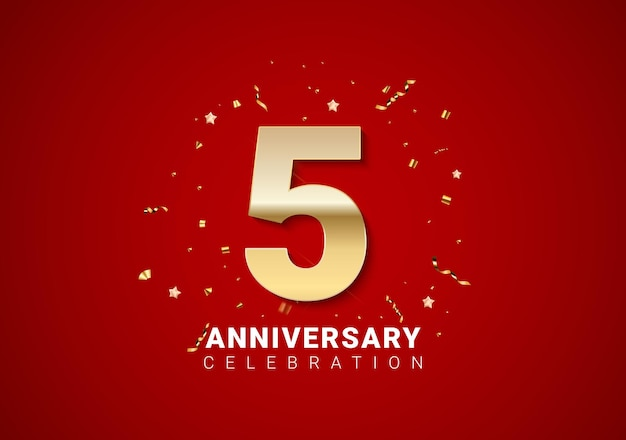 5 anniversary background with golden numbers, confetti, stars on bright red holiday background. vector illustration eps10
