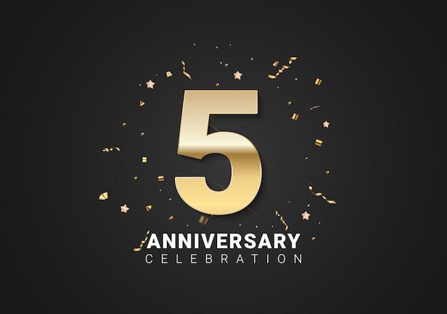 金色の数字、紙吹雪、明るい黒の休日の背景に星と5周年記念の背景。ベクトルイラスト