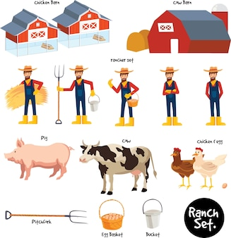 5 cartoon farmer set with tools