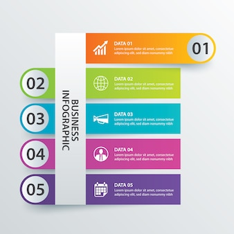 5 data infographics tab in horizontal paper index template.