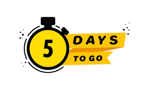5 days to go icon set. announcement. countdown left days banner. vector on isolated white background. eps 10.