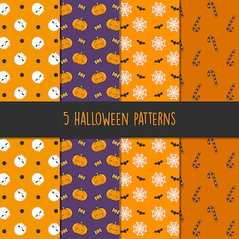 5 different halloween vector patterns. endless texture can be used for wallpaper, pattern fills, web page, background, surface - vector