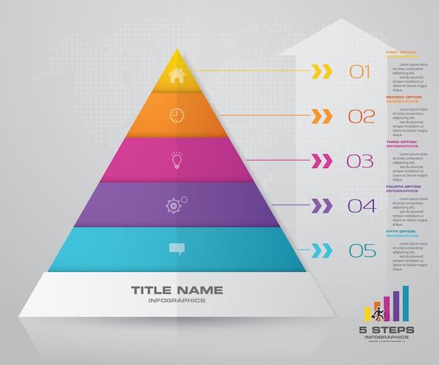 5段階のピラミッドプレゼンテーションチャート。 eps10。