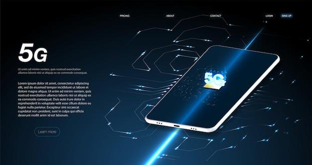 等尺性フラットデザインベクトルイラスト5 g高速技術の概念。