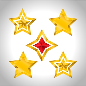 5 gold stars christmas new year holiday 3d