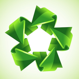 5 green recycling arrows,   illustration