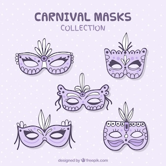 5 hand drawn carnival masks