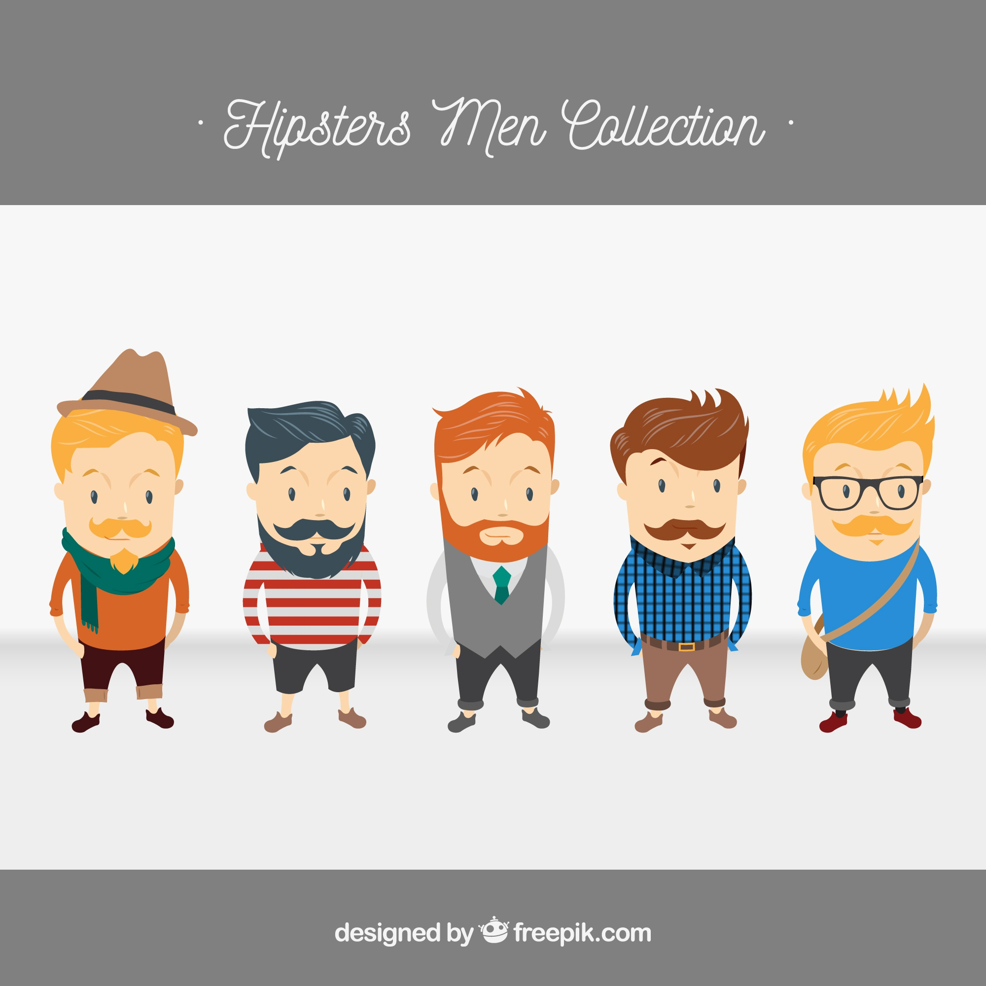 5 Hipster characters, vector pack
