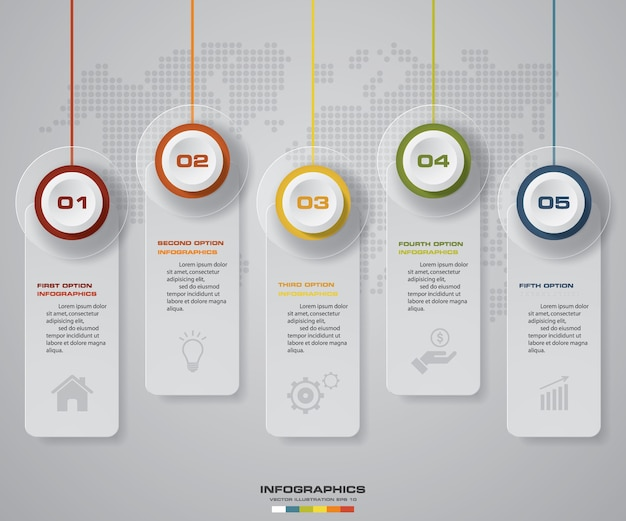 5ステップタグのinfographicsチャート。 eps 10。