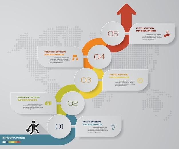 5ステップ矢印infographics図。 eps 10。