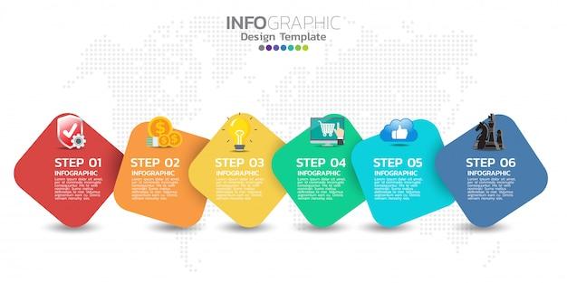 5つのオプション、プロセス図を含むタイムラインinfographicsデザインテンプレート