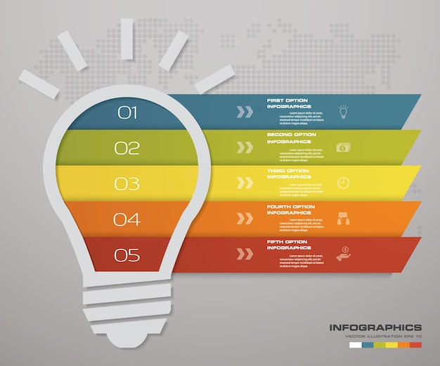 5ステップ電球のアイデアチャートinfographics要素。