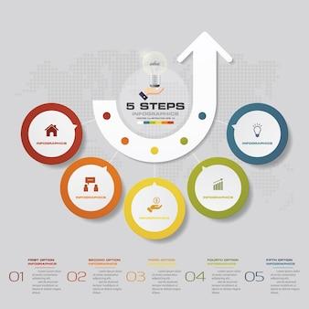プレゼンテーションのために5つのステップがinfographics要素を処理します。