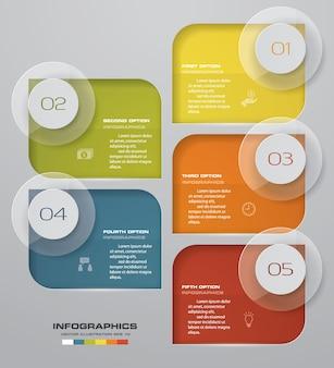 プレゼンテーションのための5ステップのinfographics要素図。