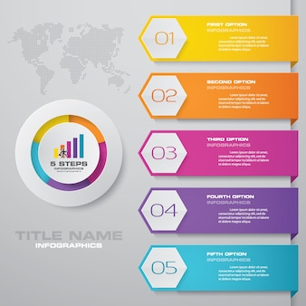 シンプルで編集可能な5つのプロセスチャートinfographics要素。