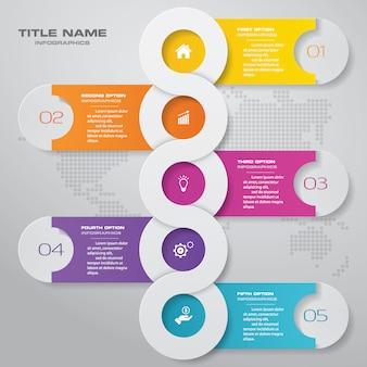 抽象的な5つのステップチャートinfographics要素。