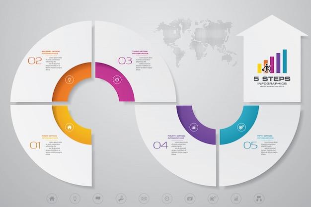 5ステップinfographics要素矢印テンプレートチャート。