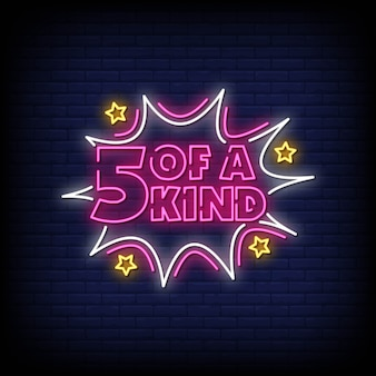 5 of a kind neon signs style text vector