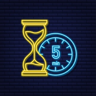The 5 minutes stopwatch vector neon icon stopwatch icon in flat style