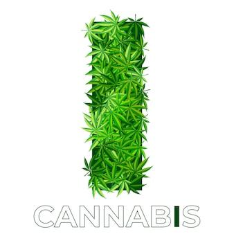 6の5。文字i.大麻またはマリファナの葉のロゴのデザインテンプレート。エンブレム、ロゴ、医療サービスまたはパッケージの広告用の麻。フラットスタイルのアイコン。孤立